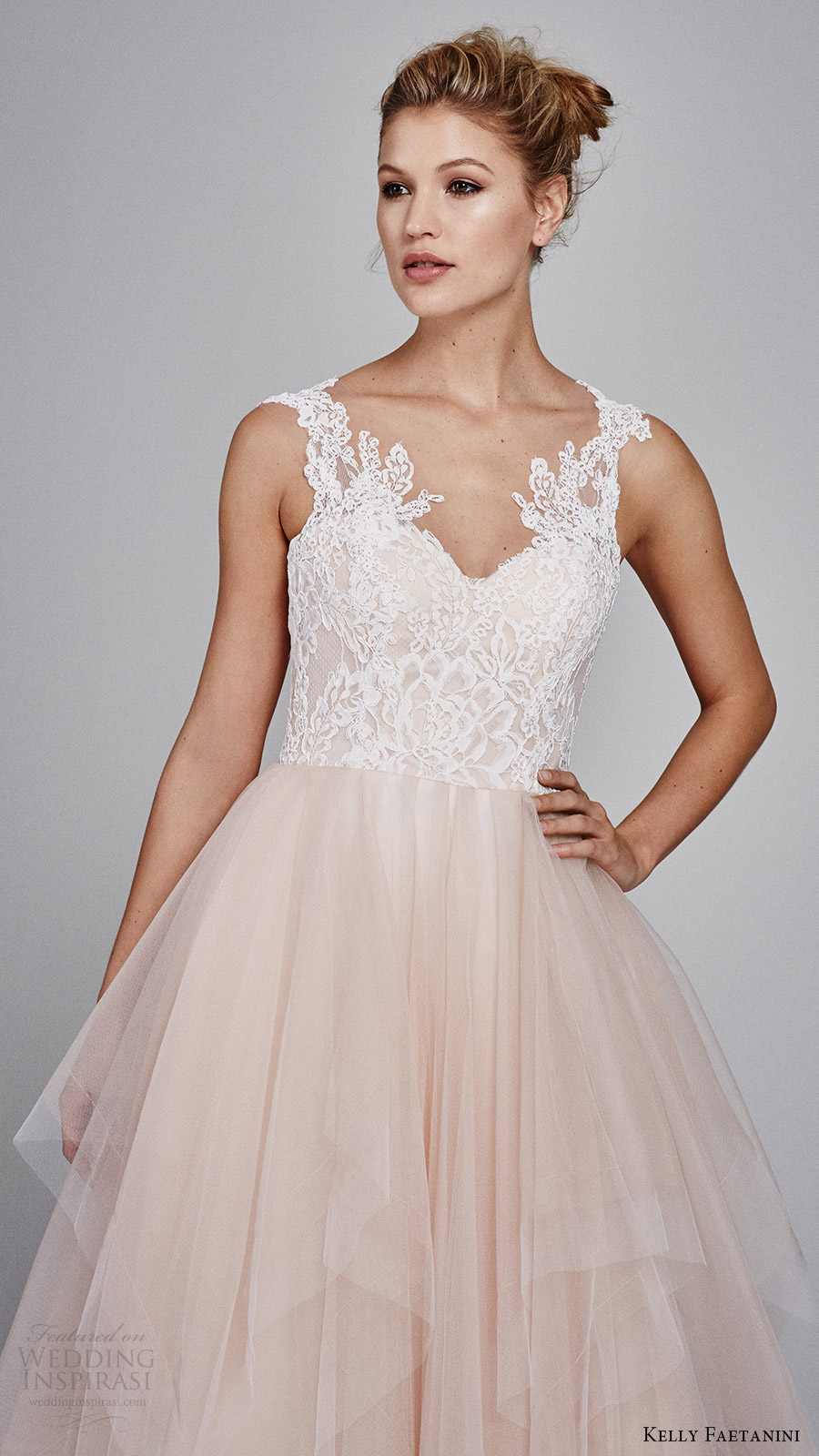 kelly faetanini fall 2017 sleeveless sweetheart lace bodice aline wedding dress (azalea) zv blush skirt lace hem