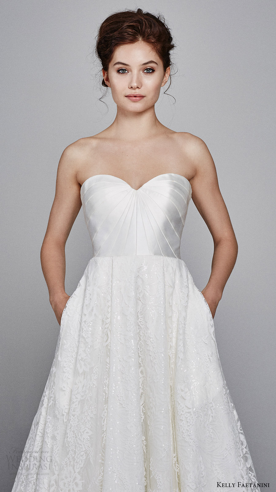 kelly faetanini fall 2017 strapless sweetheart mikado bodice aline lace wedding dress (aster) pockets zfv