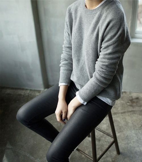 leggings with a white button down and a grey sweater may be suitable for work