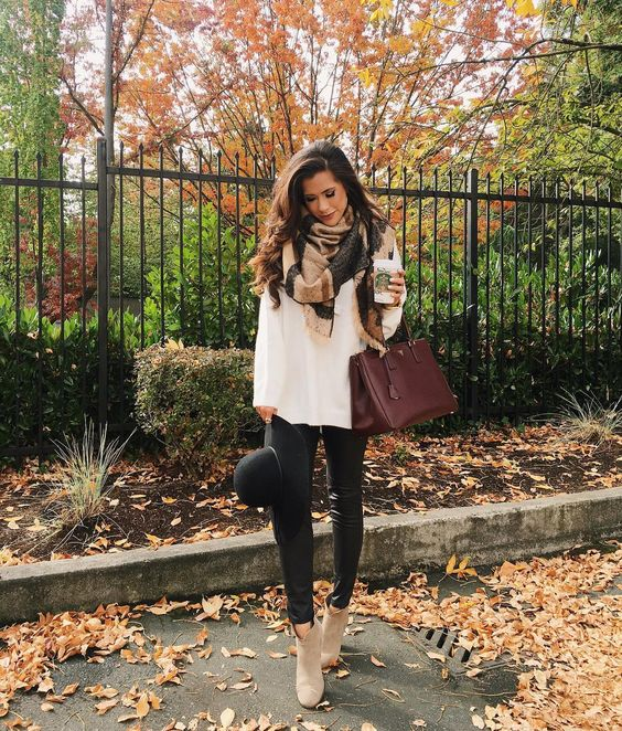 white knit, a blanket scarf, leggings and nude boots