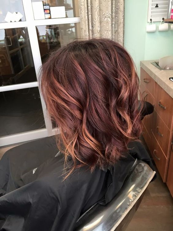 27red violet and copper balayage short hair