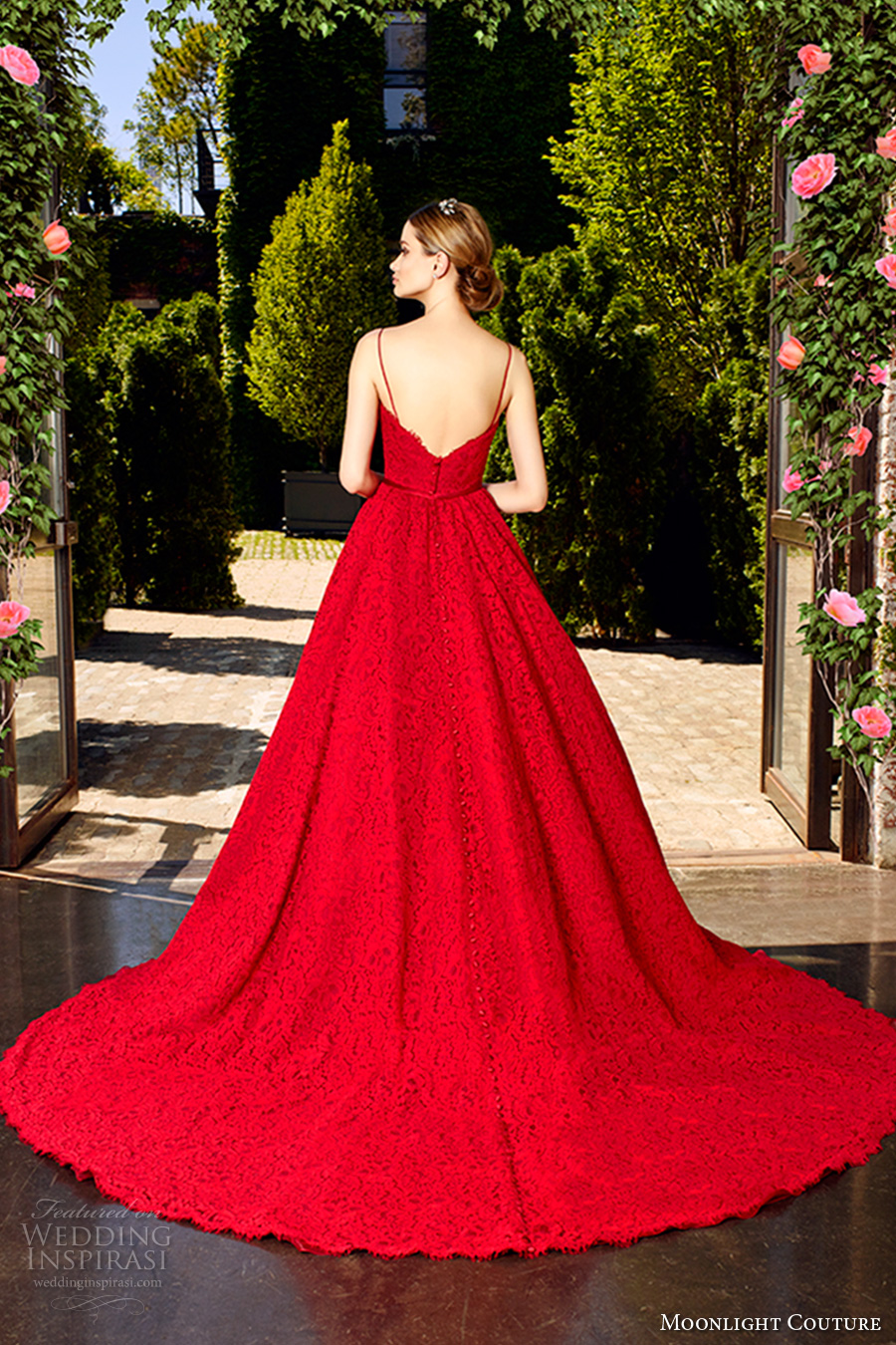 moonlight couture spring 2017 bridal spagetti strap sweetheart neckline full embellishment romantic princess red color a line wedding dress v back chapel train (h1321) bv