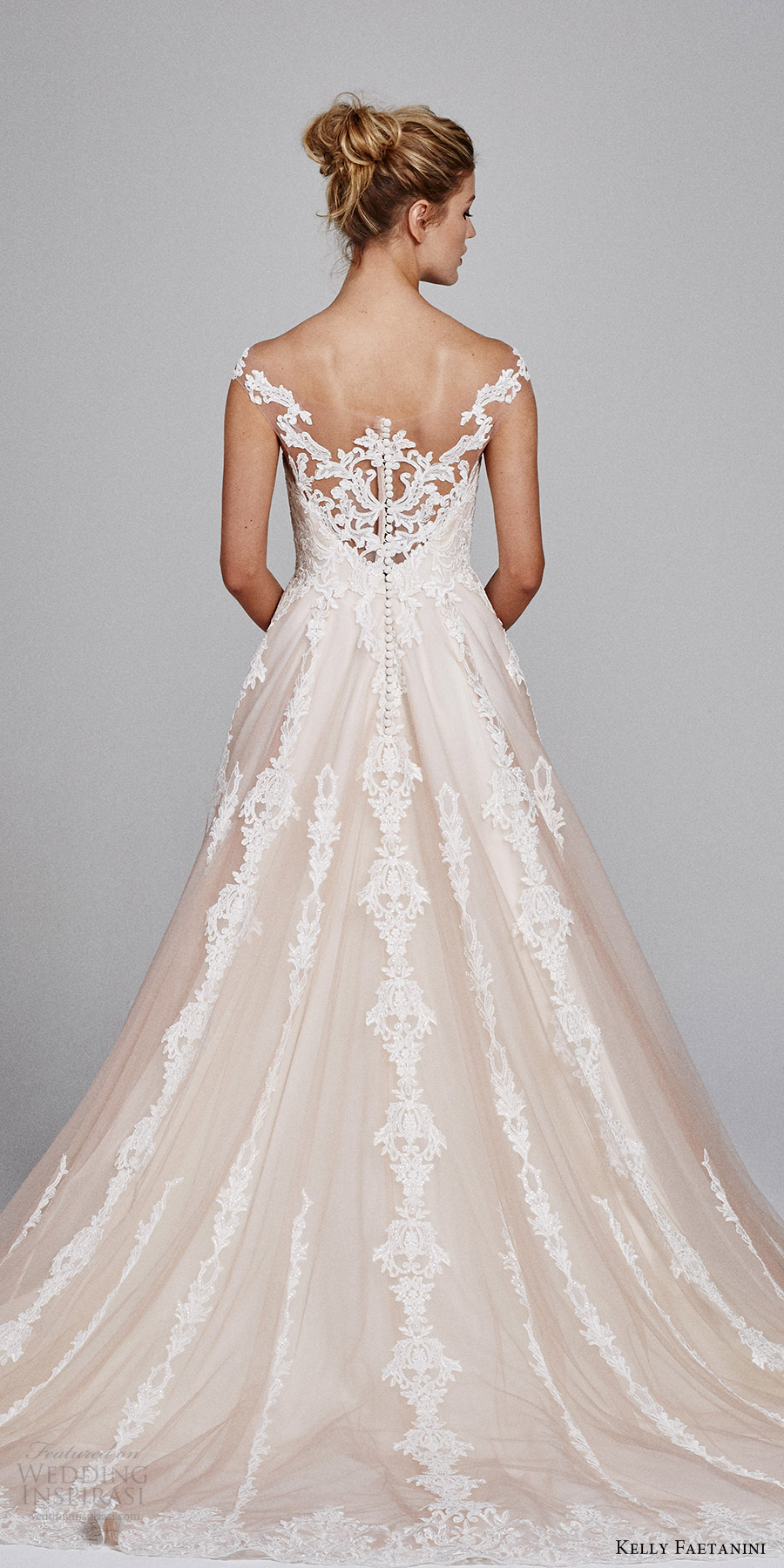 kelly faetanini bridal fall 2017 illusion off shoulder sweetheart blush alencon lace ball gown wedding dress (suri) bv