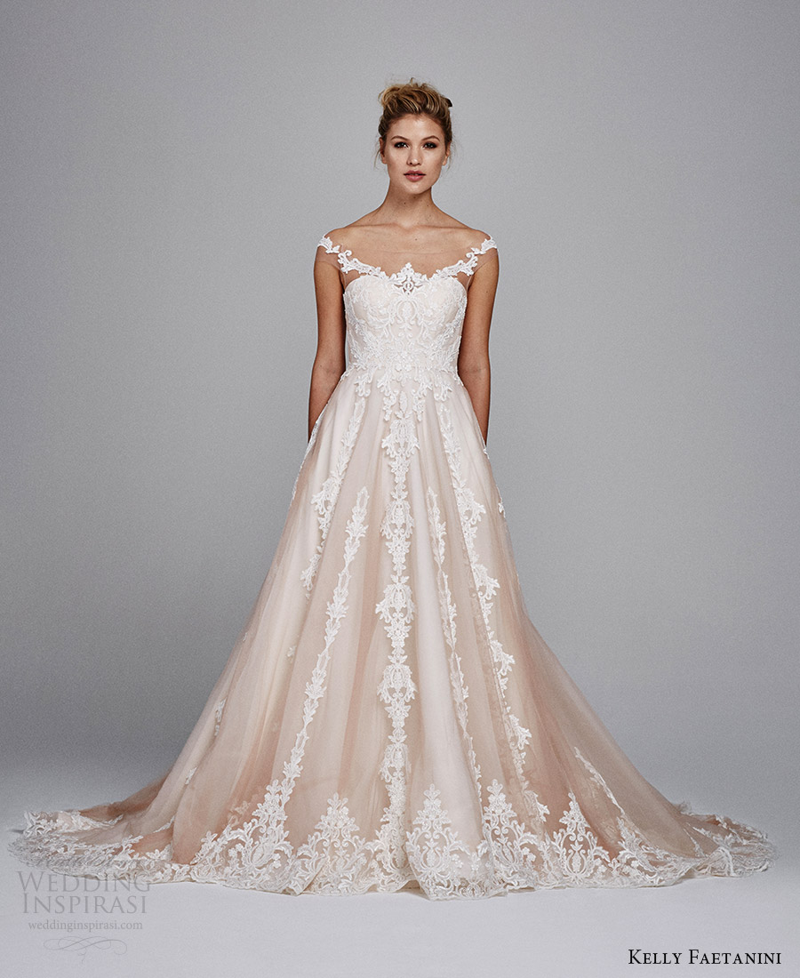 kelly faetanini bridal fall 2017 illusion off shoulder sweetheart blush alencon lace ball gown wedding dress (suri) mv
