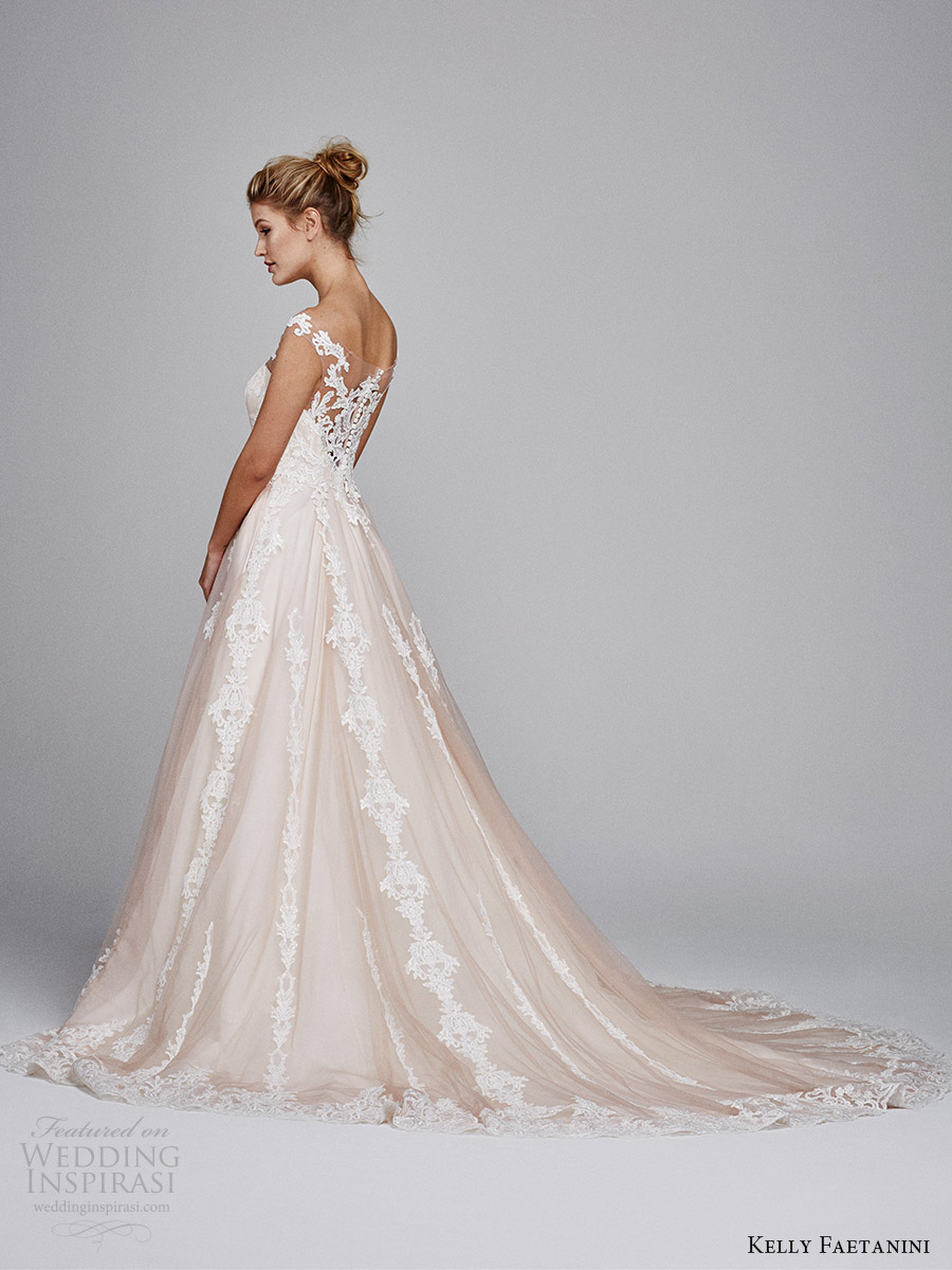 kelly faetanini bridal fall 2017 illusion off shoulder sweetheart blush alencon lace ball gown wedding dress (suri) sv