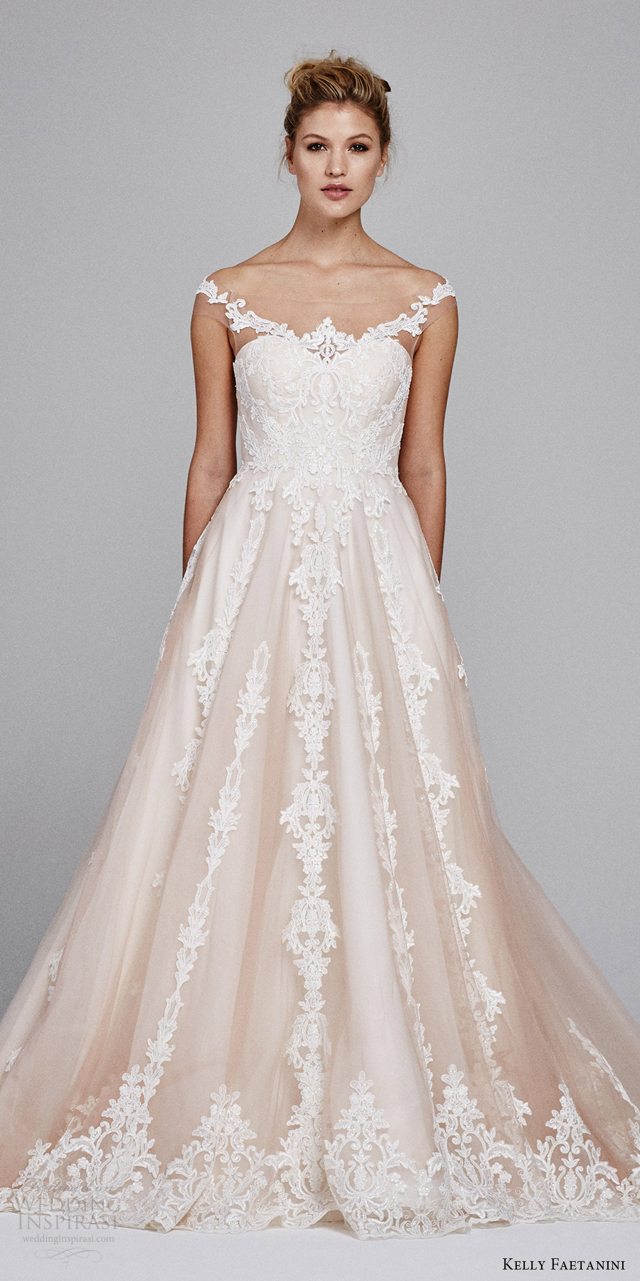 kelly faetanini bridal fall 2017 illusion off shoulder sweetheart blush alencon lace ball gown wedding dress (suri) zfv
