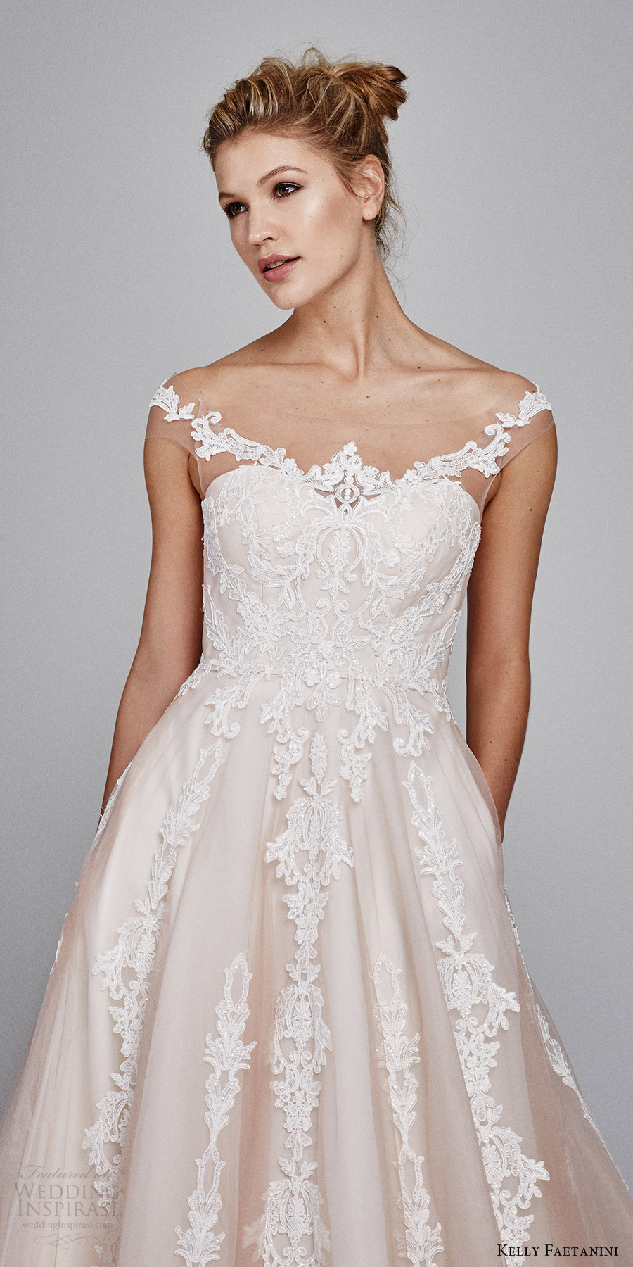 kelly faetanini bridal fall 2017 illusion off shoulder sweetheart blush alencon lace ball gown wedding dress (suri) zv
