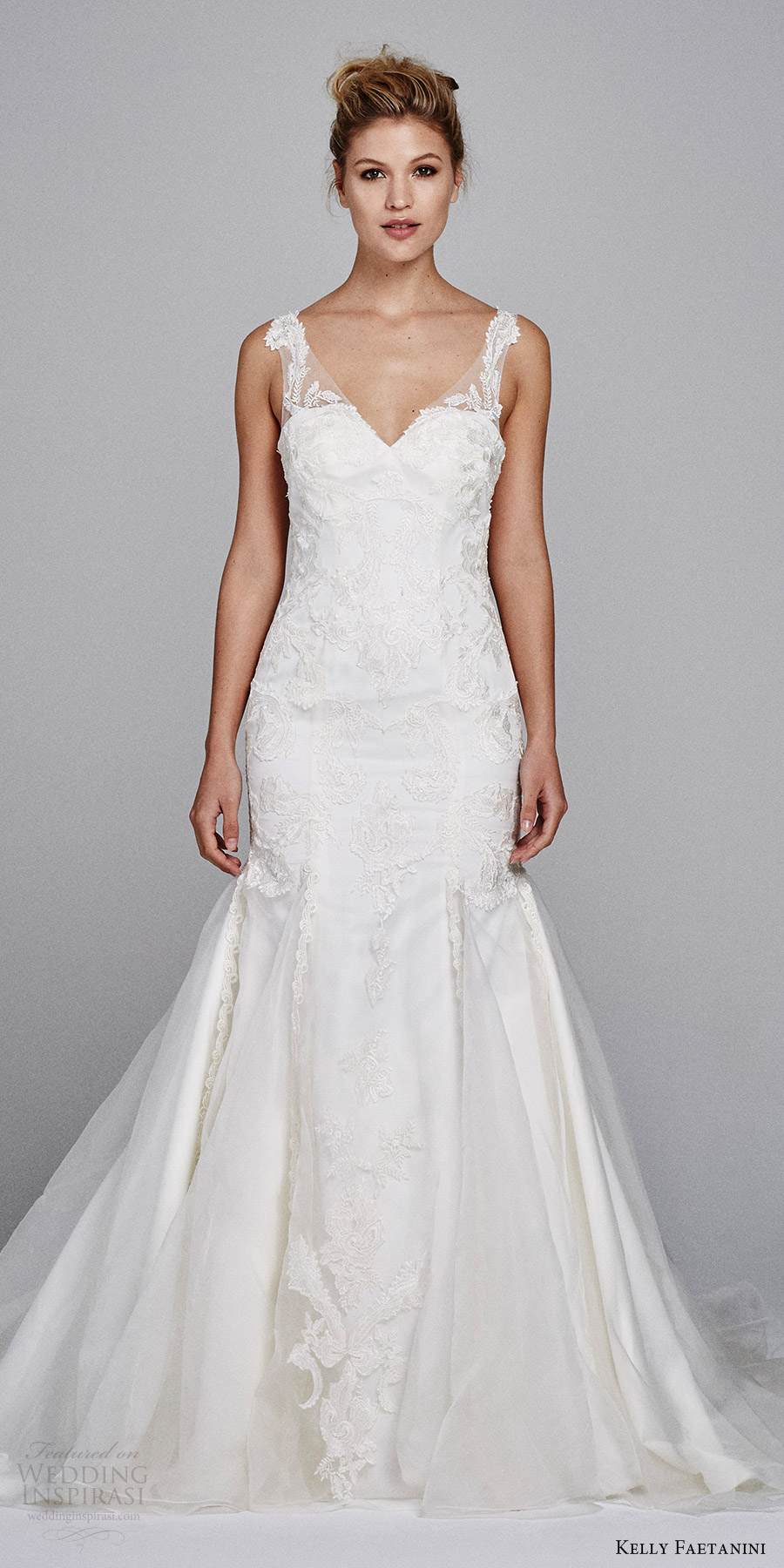 kelly faetanini bridal fall 2017 sleeveless illusion straps vneck mermaid lace wedding dress (rosemary) mv
