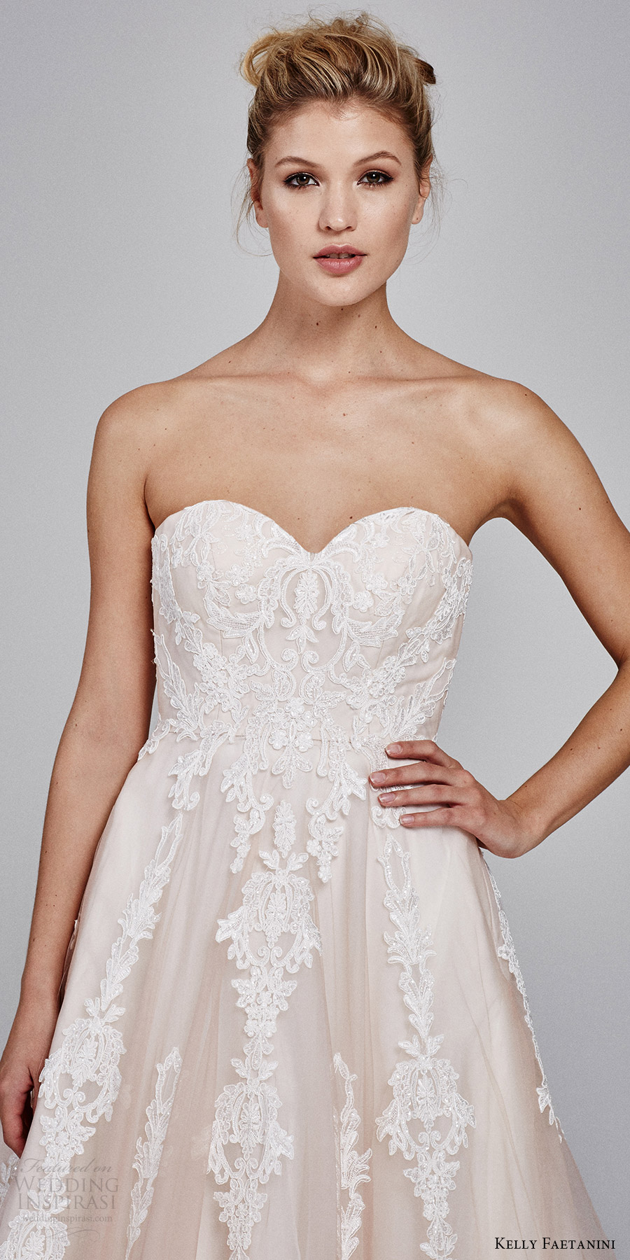kelly faetanini bridal fall 2017 strapless sweetheart blush alencon lace ball gown wedding dress (suri strapless) mv