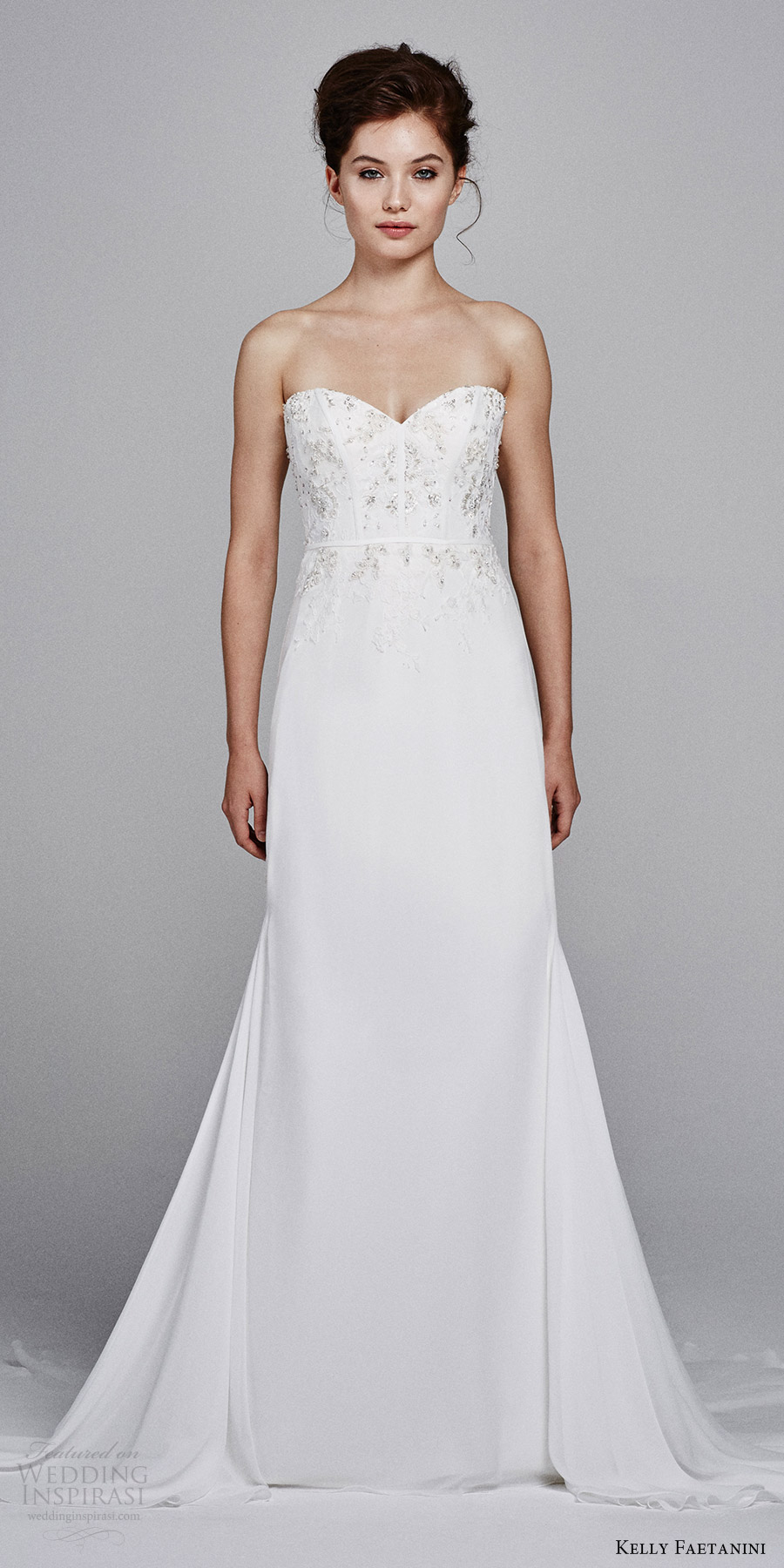 kelly faetanini bridal fall 2017 strapless sweetheart embellished bodice sheath wedding dress (sage) mv train