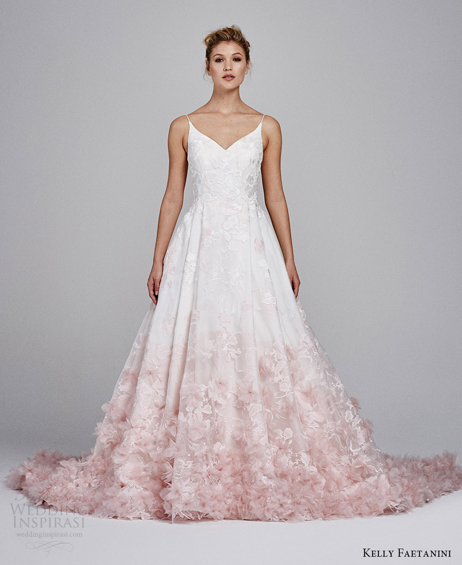 kelly faetanini fall 2017 sleeveless vneck silk organz petal embellished skirt blush ombre ball gown wedding dress (willow) mv