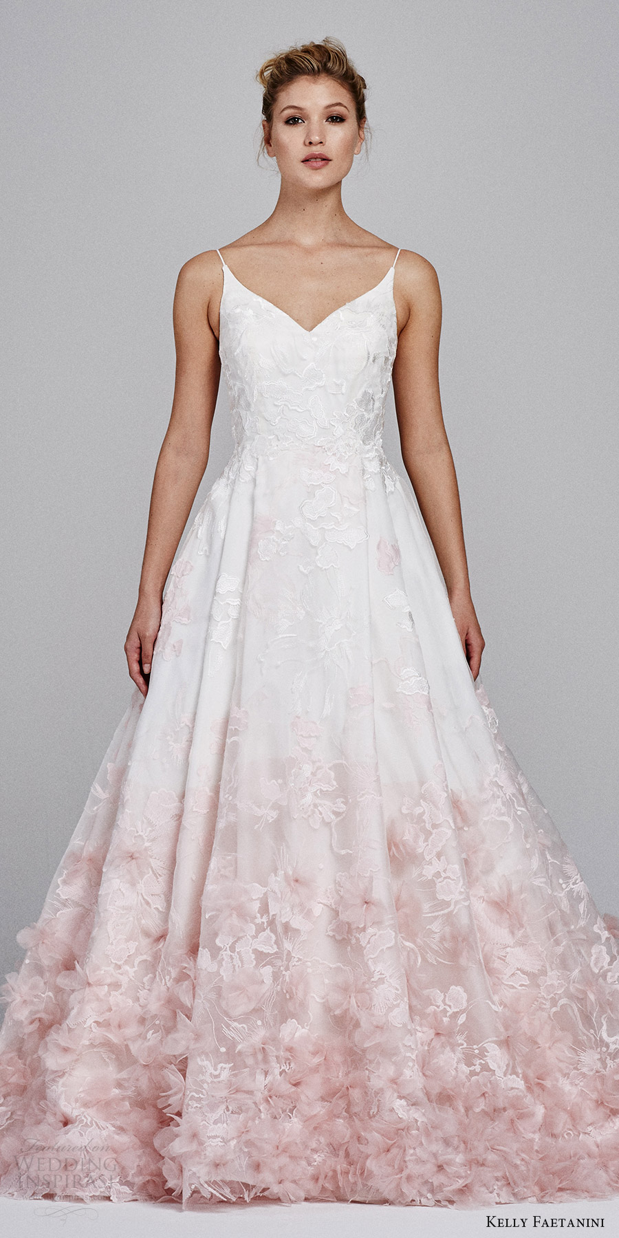 kelly faetanini fall 2017 sleeveless vneck silk organz petal embellished skirt blush ombre ball gown wedding dress (willow) zfv