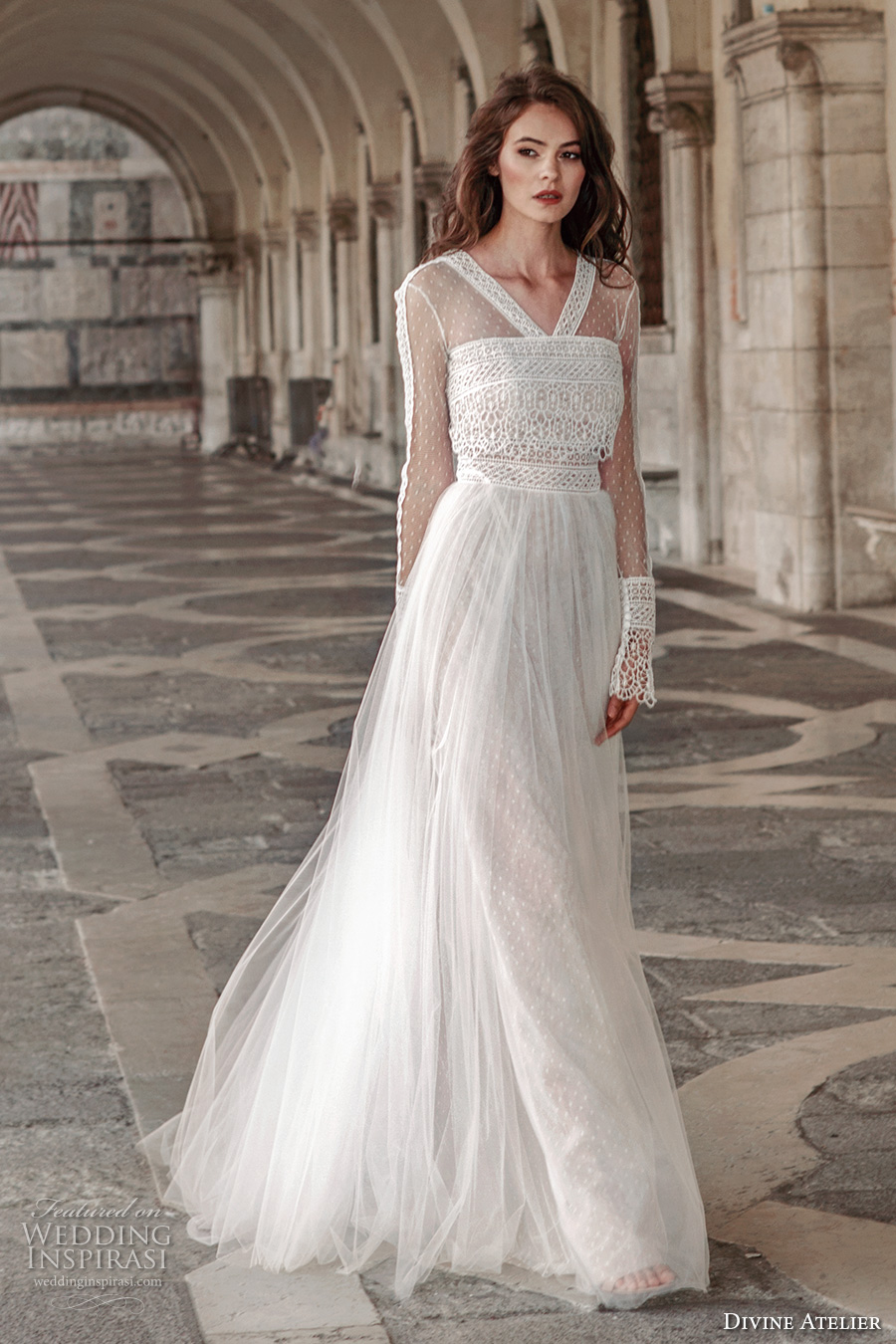 divine atelier 2017 bridal flounce long sleeves v neck heavily embellished bodice tulle skirt romantic bohemian a line wedding dress sweep train (unnamed09) mv