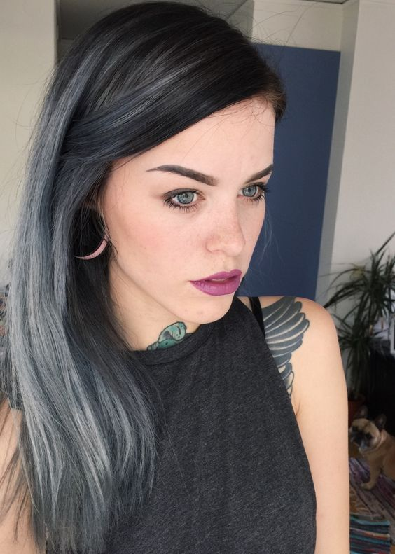 black hair with silver grey highlights