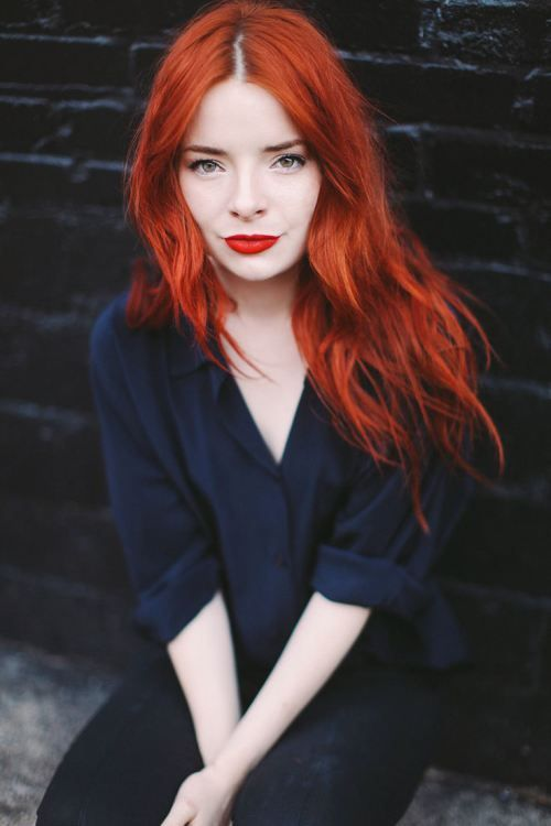 bold orange lips and hair to rock for the fall