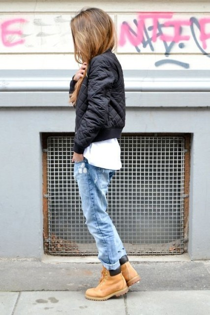 With puffer jacket, white shirt and cuffed jeans
