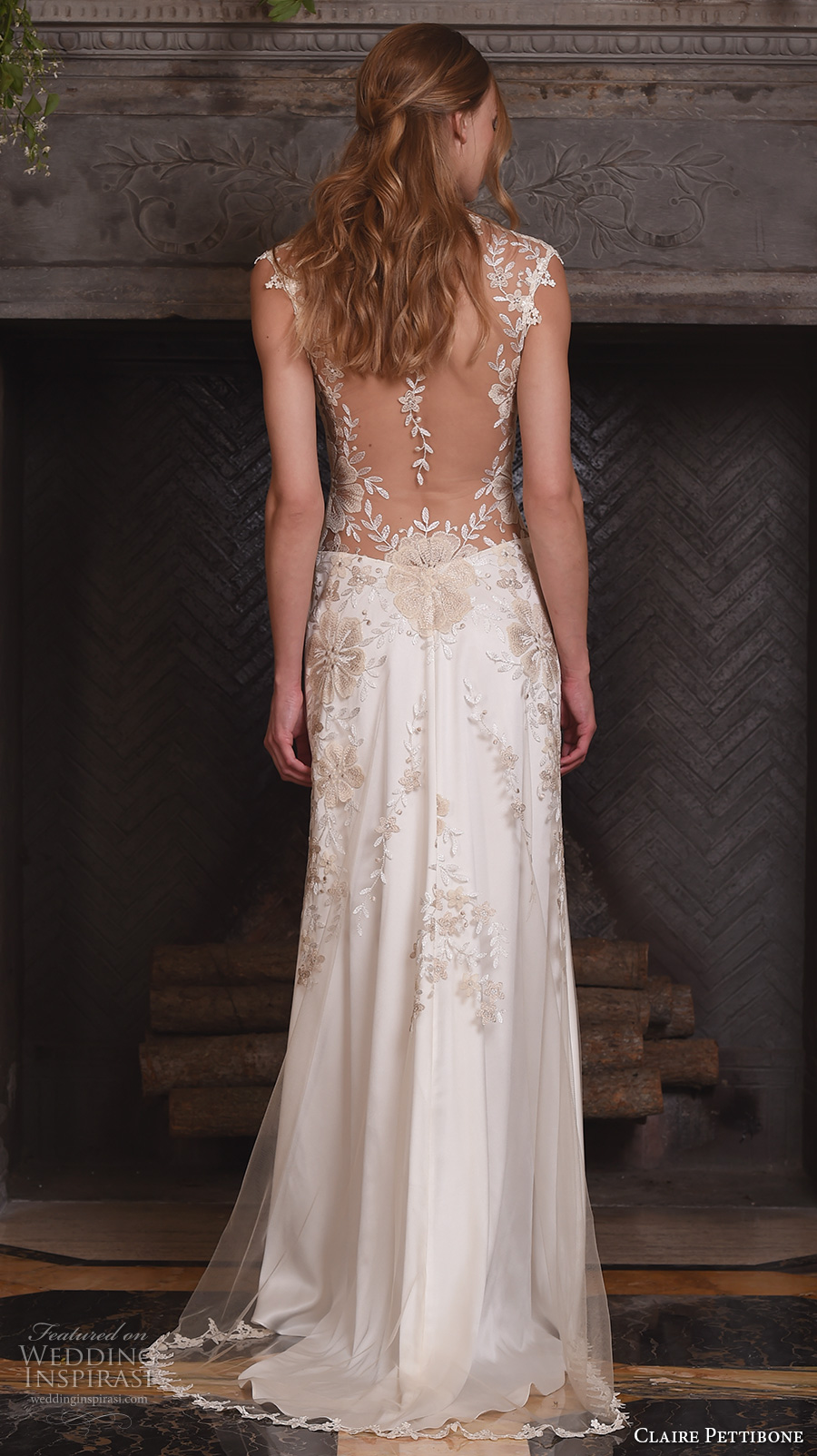 claire pettibone fall 2017 bridal sleeveless illusion v neck sweetheart neckline heavily embellished bodice romantic modified a line wedding dress lace back sweep train (reverie) bv
