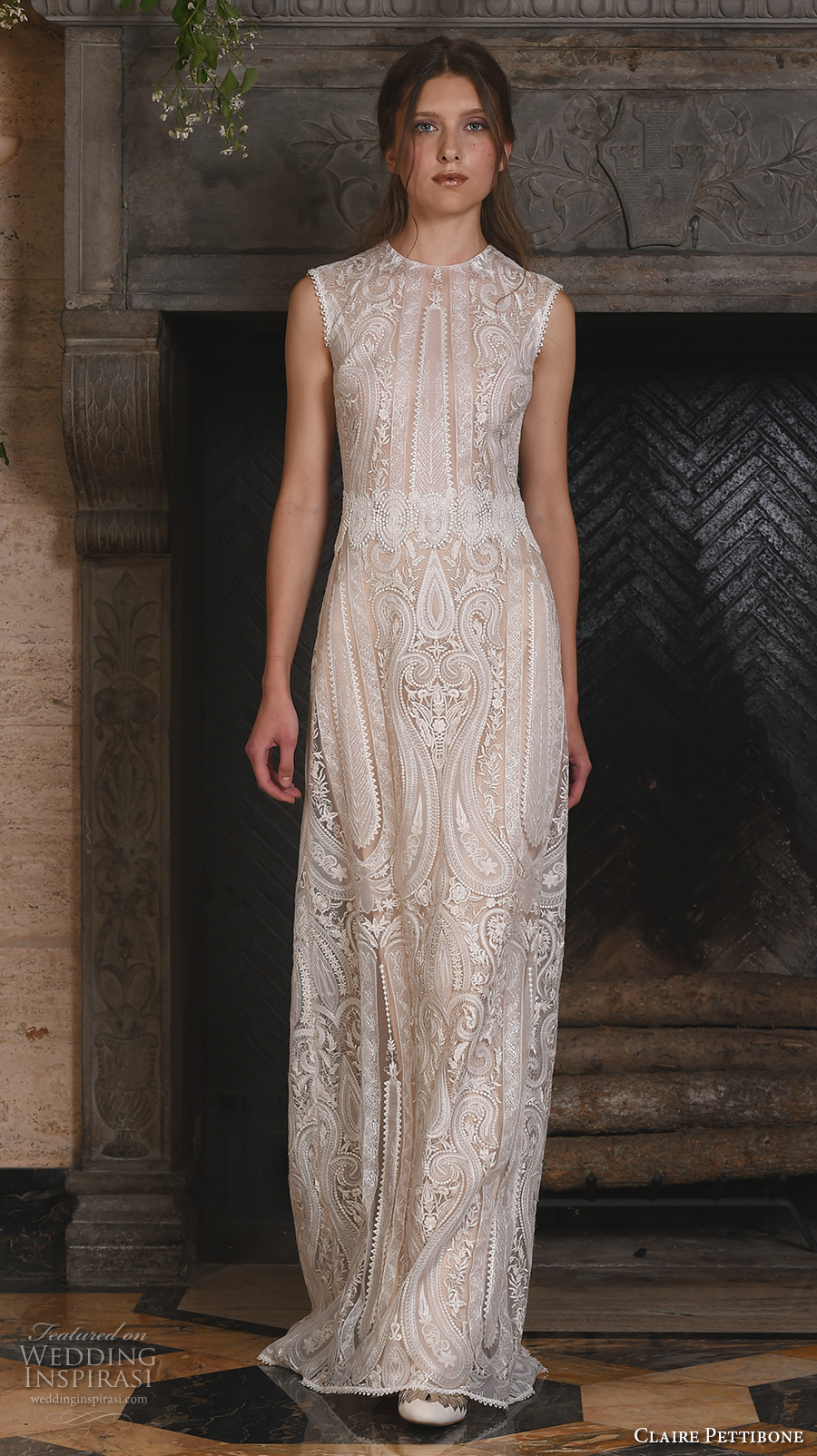 claire pettibone fall 2017 bridal sleeveless jewel neckline full embellishment vintage art deco embroidery lace a line sheath wedding dress keyhole back (solstice) mv