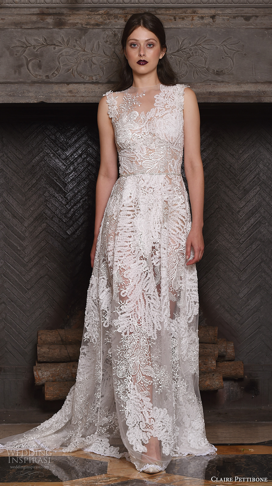 claire pettibone fall 2017 bridal sleeveless v neck full embellishment lace embroidered romantic modified a line wedding dress lace back sweep train (snow) mv