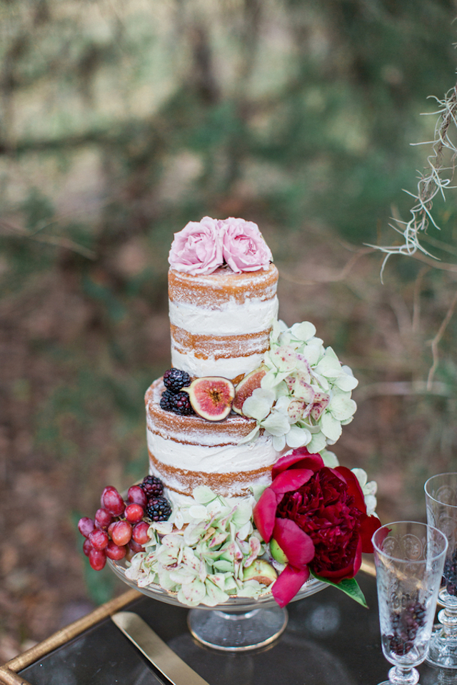 Naked cake with red peony | Flora + Fauna Photography