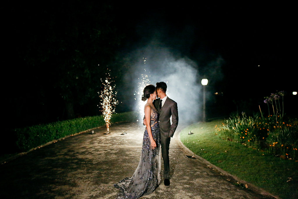 wedding fireworks - photo by Lara Hotz http://ruffledblog.com/secret-garden-inspired-australian-wedding
