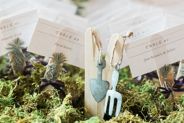 Fern and forest themed wedding details and place cards | Ashley Link Photography