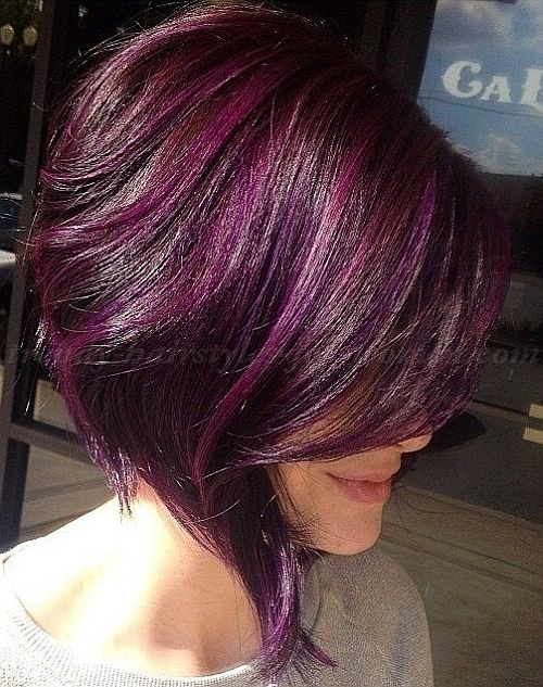 asymmetrical purple hair with lighter highlights