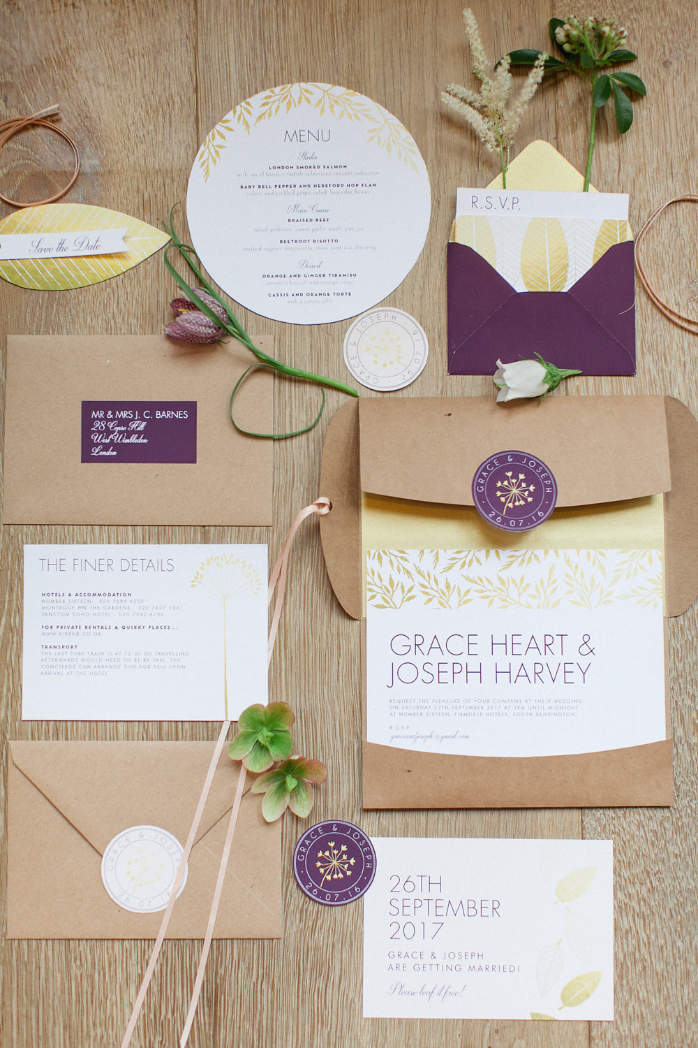 purple and yellow invitations - photo by Roberta Facchini Photography http://ruffledblog.com/herbarium-inspired-wedding-ideas