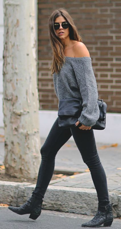 rocker outfit with black leather pants, a grey off the shoulder sweater and heels