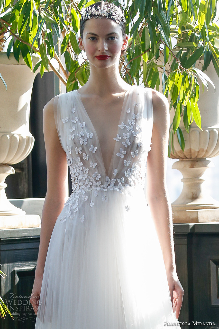 francesca miranda fall 2017 bridal sleeveless thick strap deep v neck heavily embellished bodice butterfly embroidery tulle skirt romantic a line wedding dress low v back sweep train (aurora) zv