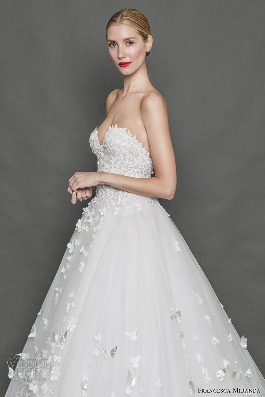 francesca miranda fall 2017 bridal strapless sweetheart neckline busiter heavily embelished bodice romantic princess a line wedding dress open back sweep train (alice) sdv