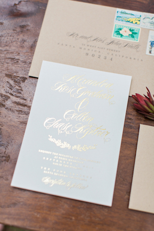 Gold foil wedding invitations | Flora + Fauna Photography