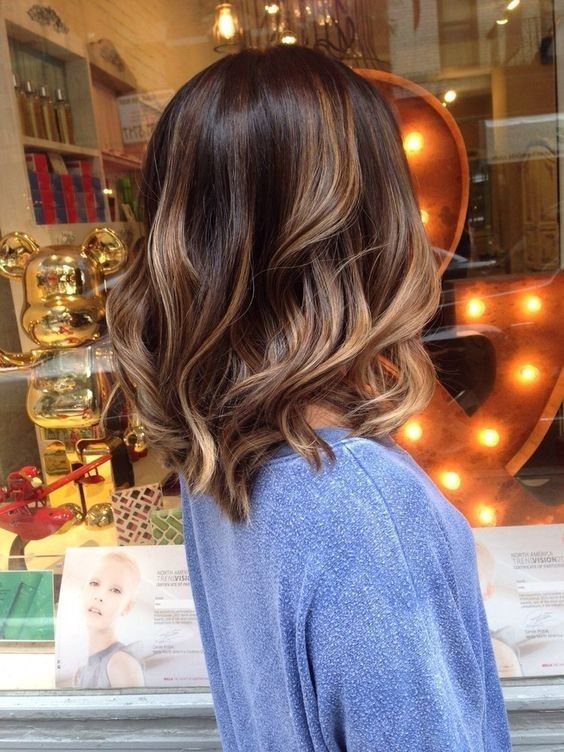 chestnut brown hair with dark caramel highlights