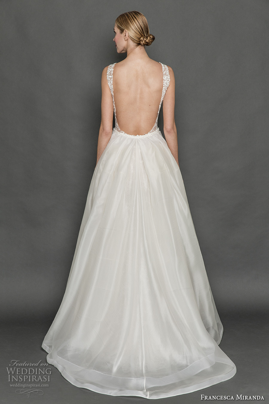 francesca miranda fall 2017 bridal sleeveless thick strap deep plunging v neck full embellishment sexy a line wedding dress overskirt low back sweep train (mia) bv