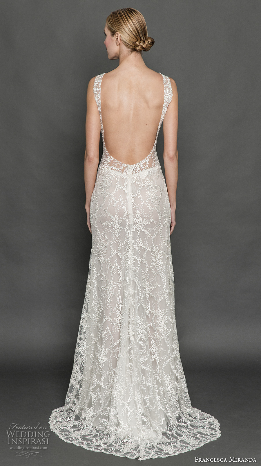 francesca miranda fall 2017 bridal sleeveless thick strap deep plunging v neck full embellishment sexy sheath wedding dress low back sweep train (mia) bv