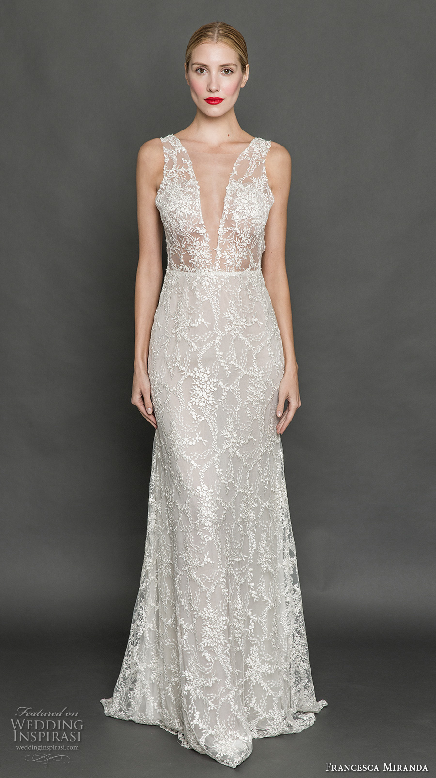 francesca miranda fall 2017 bridal sleeveless thick strap deep plunging v neck full embellishment sexy sheath wedding dress low back sweep train (mia) mv