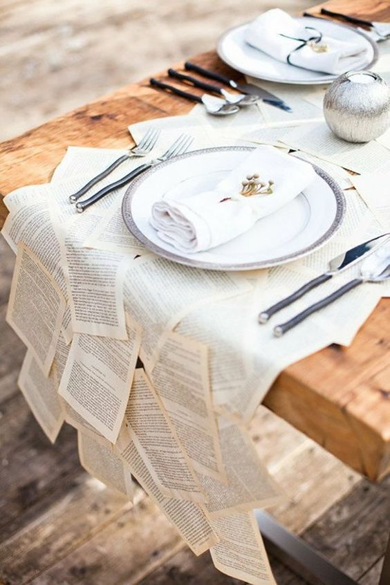 book page table runner is a unique idea