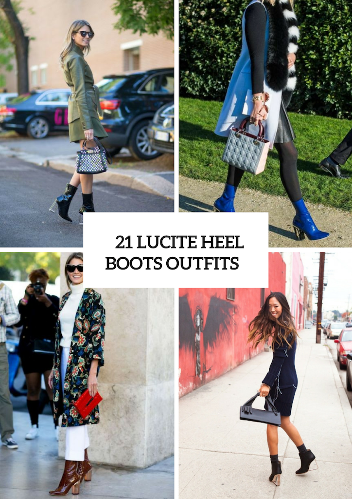 Lucite Heel Boots Outfits For Fall And Winter