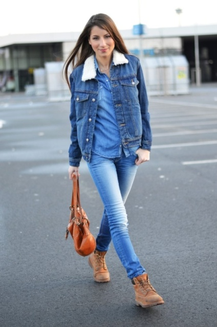 With denim shirt, jeans and denim jacket