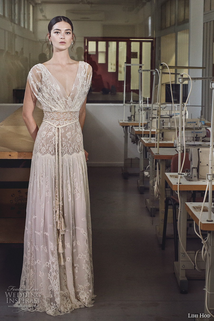 lihi hod 2017 bridal cap sleeves v back full embellishment lace vintage bohemian modified a line wedding dress v low back sweep train (alona) mv