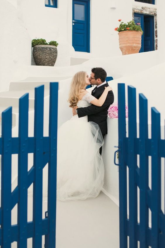 wonderful blue and white Santorini island is a gorgeous place to get married