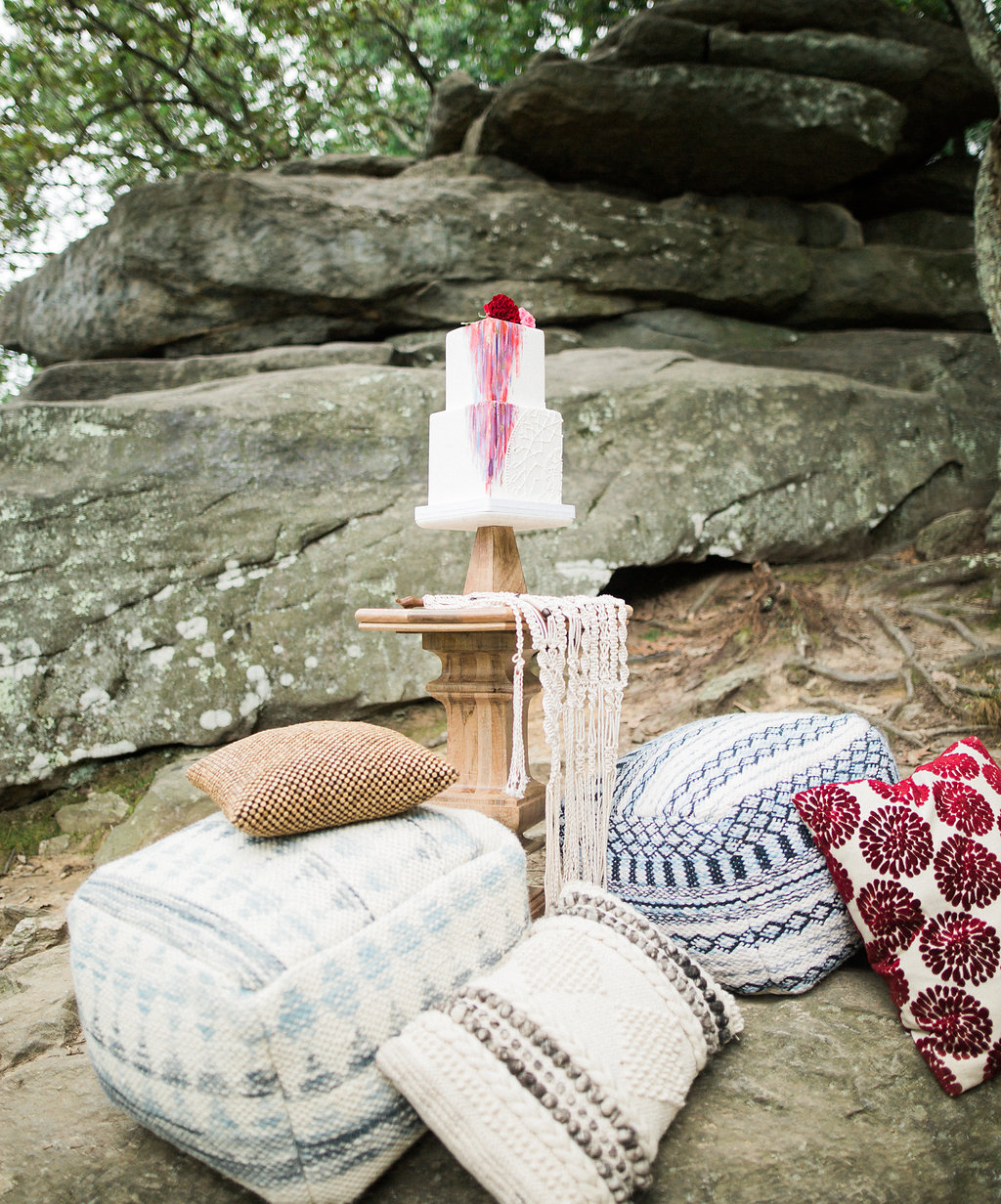 boho cake table - http://ruffledblog.com/nomadic-cliffside-elopement-inspiration