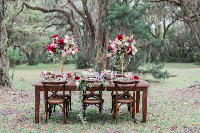 Farm table wedding reception Spanish moss and crimson peonies in Florida | Flora + Fauna Photography