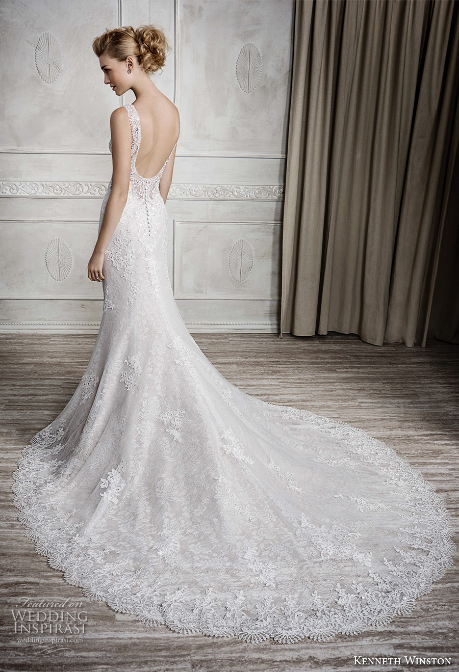 kenneth winston fall 2016 bridal sleeveless embroidered strap sweetheart neckline full embellishment beautiful elegant fit and flare wedding dress low back long train (1670) bv