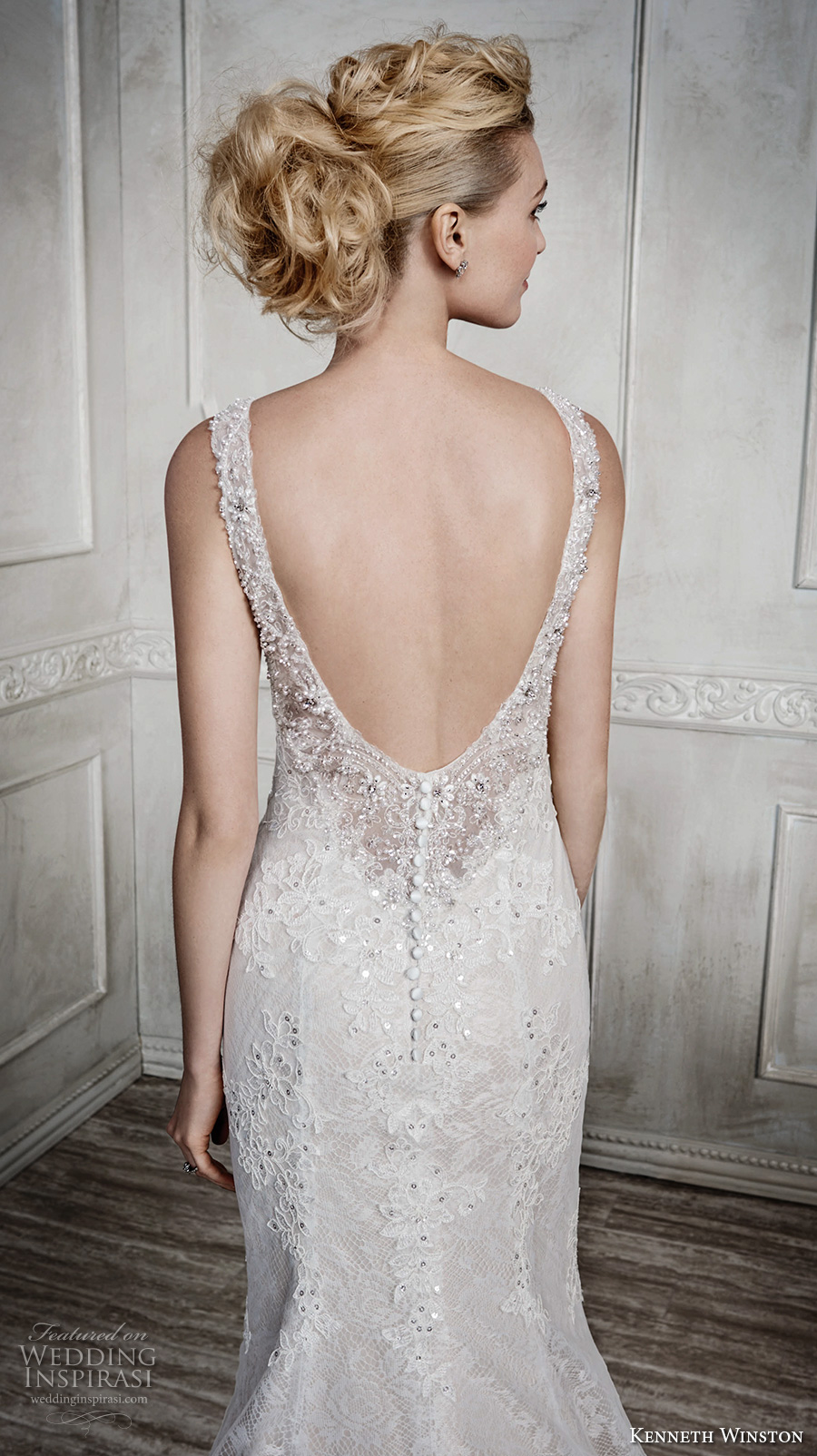 kenneth winston fall 2016 bridal sleeveless embroidered strap sweetheart neckline full embellishment beautiful elegant fit and flare wedding dress low back long train (1670) zbv