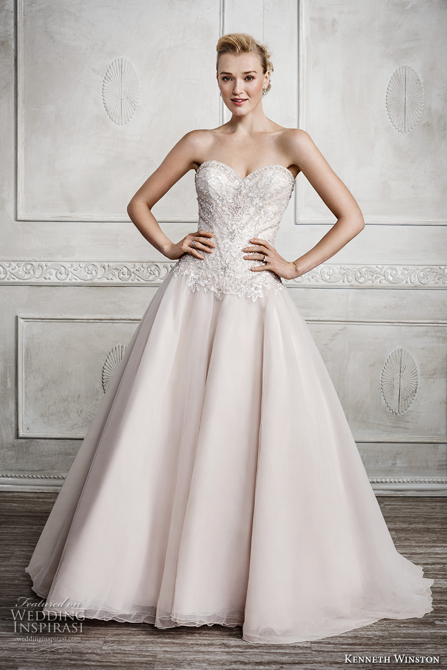 kenneth winston fall 2016 bridal strapless sweetheart neckline heavily embellished bodice champagne color princess a line wedding dress chapel train (1671) mv