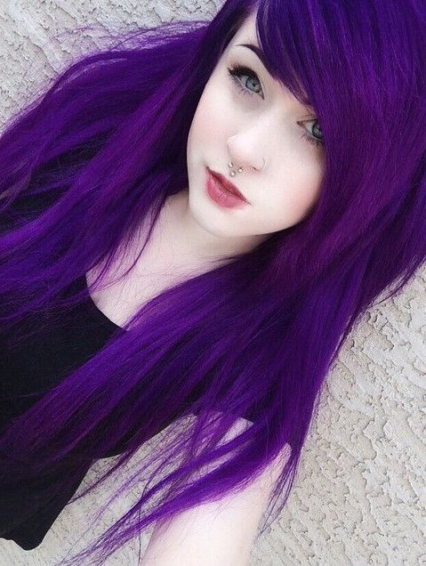 super bold purple hair looks awesome with pale complexion