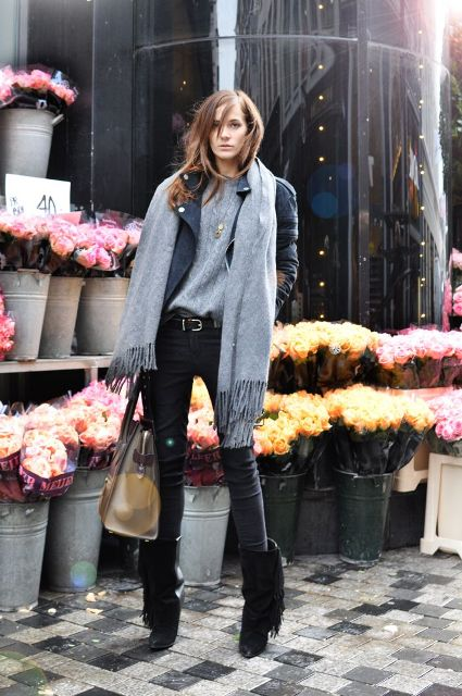 With jacket and oversized gray scarf