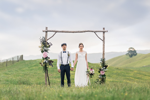 Outdoor meadow wedding ceremony arch | Wild & Grace
