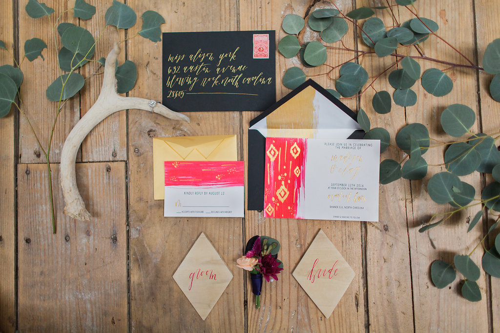 wedding invitations - photo by Elizabeth Marie Photos http://ruffledblog.com/gold-and-plum-wedding-inspiration-with-hayley-paige-gown
